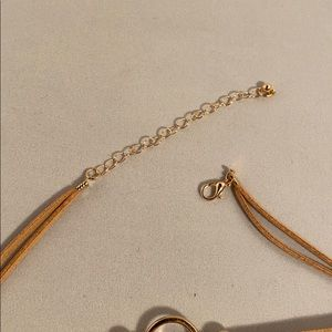 Jewelry - Brown leather bracelet with gold color metal